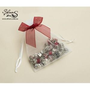 Подарочный мешочек бантик белый с красным бантиком, С0010