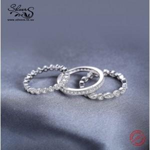 Кільця з цирконієм 3 шт, С2100