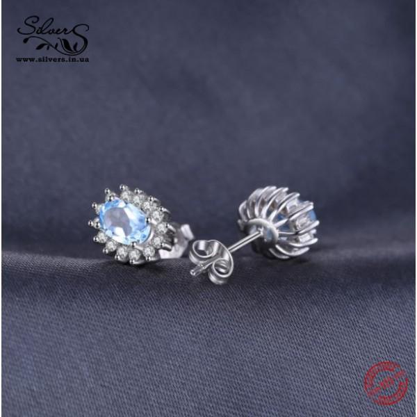 Серьги с голубым топазом и цирконием, 2102