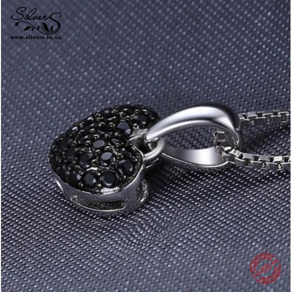 """Серебряная подвеска кулон """"Сердце"""" черный шпинель без цепочки, 2108"""