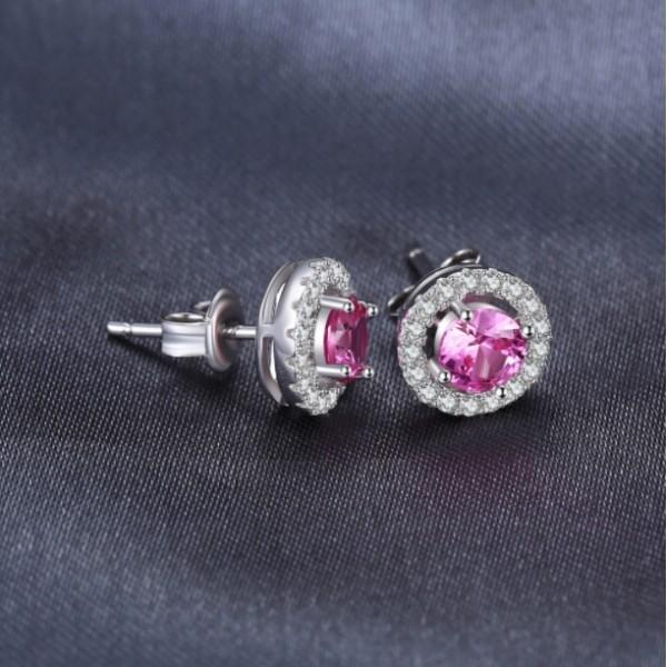 Серьги с розовым сапфиром и цирконием, 2256