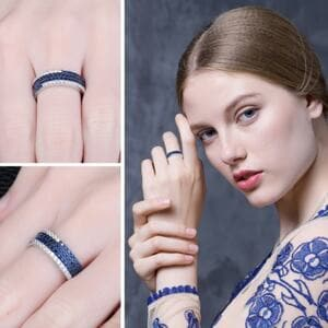 Кольцо синий шпинель и цирконий , С2275
