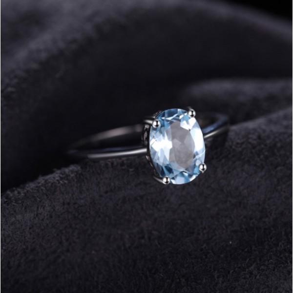 Кольцо с голубым топазом , 2407