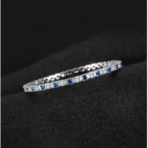 Кольцо с синим шпинелем и цирконием , С2410