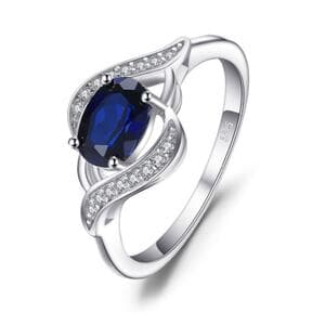 Кольцо с цирконием и синим сапфиром, С2412
