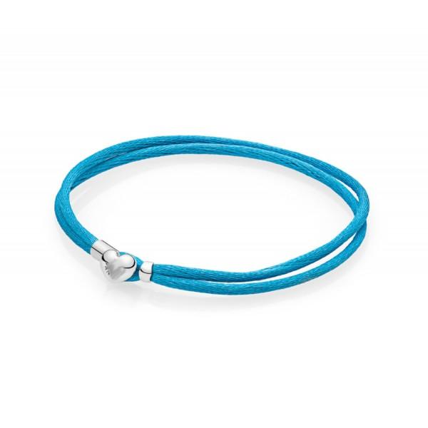 Текстильный голубой браслет , С2287
