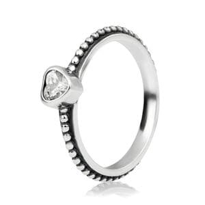 """Кольцо """"Деликатное сердце белое"""" , С1572"""