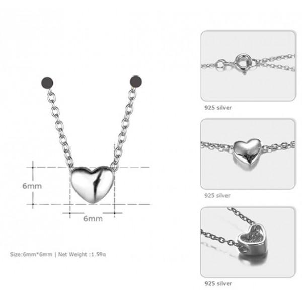 """Серебряная подвеска кулон """"Сердце"""" с цепочкой, 2893"""