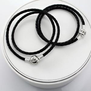 Кожаный браслет черный двойной, С1064