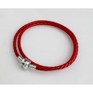 Кожаный браслет красный двойной, С1063