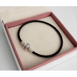 Шкіряний браслет чорний одинарний, С1059