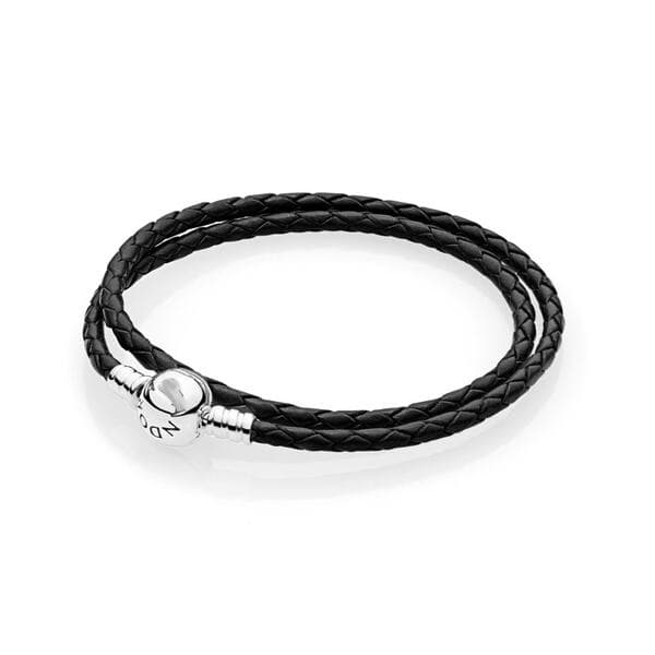 Кожаный браслет черный , С3589