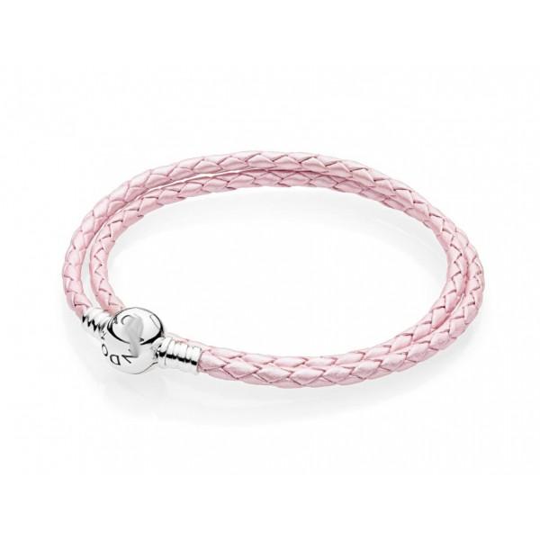 Шкіряний браслет рожевий, С3611