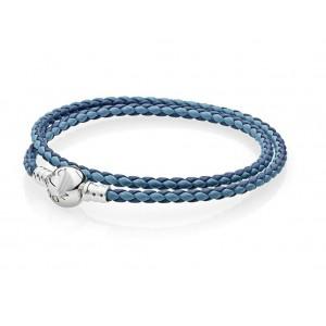 Кожаный браслет синий, С3612