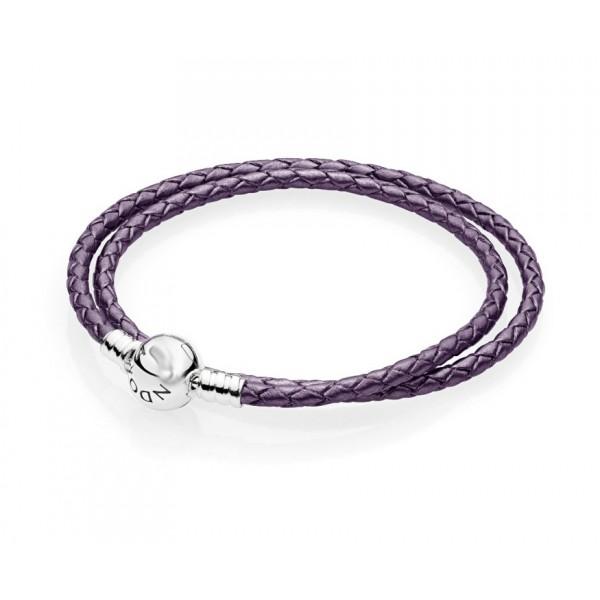 Кожаный браслет фиолетовый, С3613