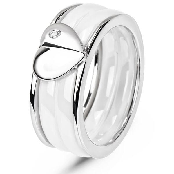 """<h1>Серебряное кольцо с керамикой и фианитами """"Мессина"""" КБ013, 3724</h1>"""