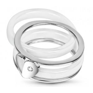 """Серебряное кольцо с керамикой и фианитами """"Мессина"""" КБ013, 3724"""