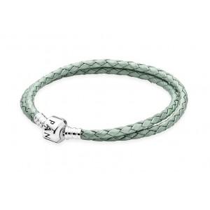 Шкіряний браслет зелений, С4637