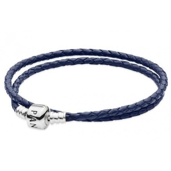 Кожаный браслет синий, 4638