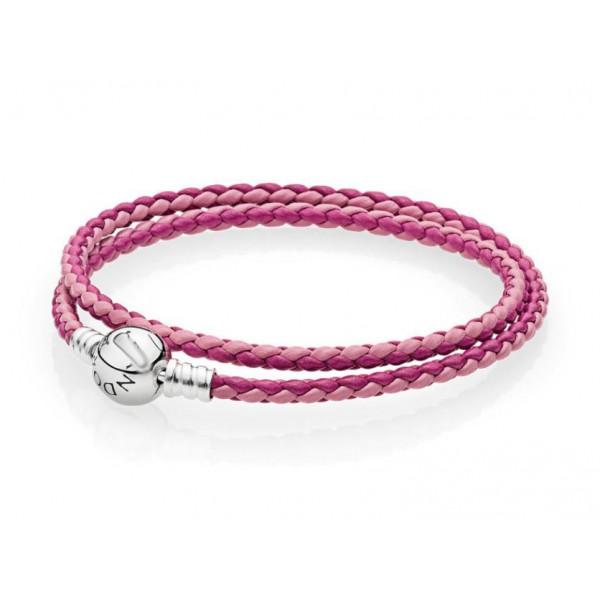 Шкіряний браслет рожевий, С4639