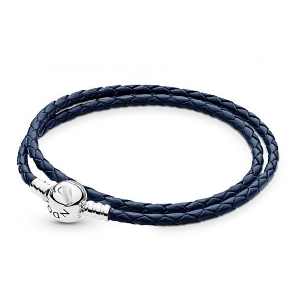 Шкіряний браслет синій, С4926