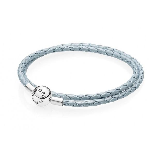 Кожаный браслет голубой , С5082