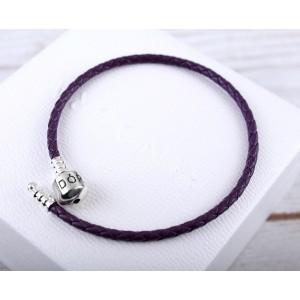 Кожаный браслет фиолетовый, С5083