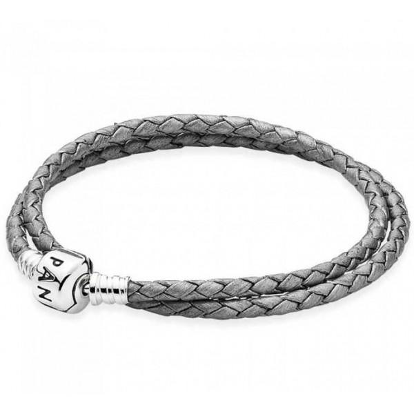 Кожаный браслет серый, 5085