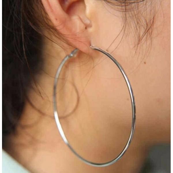Женские серьги-кольца, серебристые, С5830