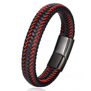 Мужской кожаный браслет, черный, С5869