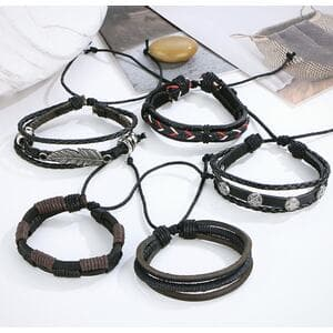 Кожаный браслет многослойный, С6482
