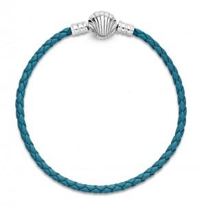 """Шкіряний браслет """"Ракушка """"блакитний, С7118"""