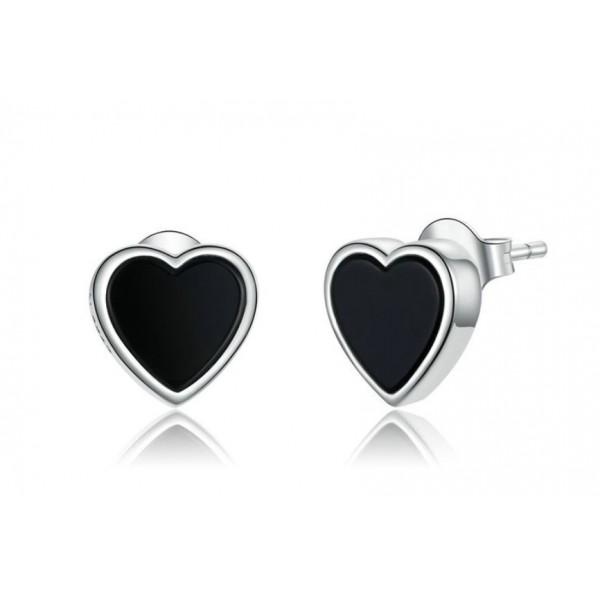 """Серебряные серьги """"Черные сердца"""", С7494"""