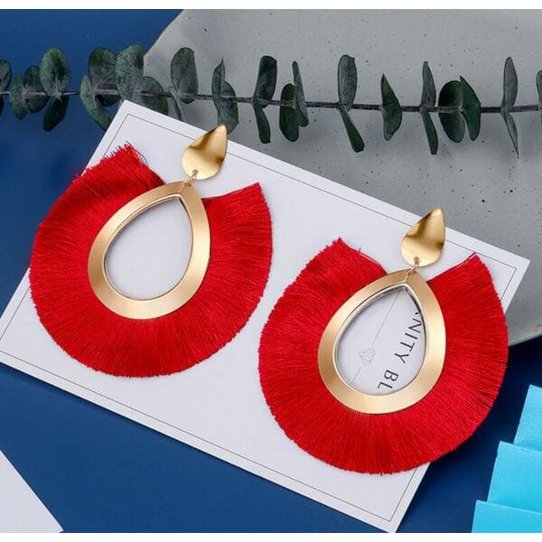 Женские серьги кисточки, красные, С7921