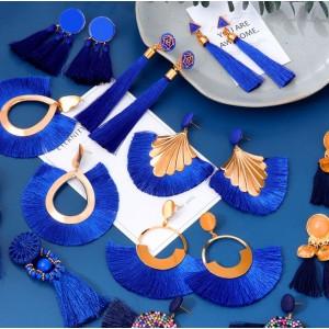Женские серьги кисточки, синие, С7923