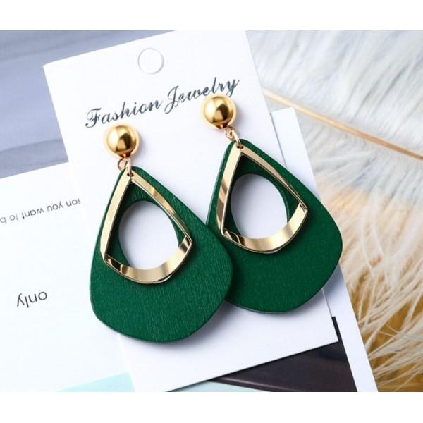Жіночі сережки висячі, зелені, С7940