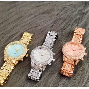 Женские часы в камнях, золотистые, С8335