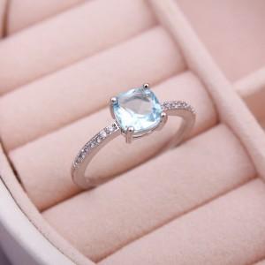 Жіноче кільце з каменем, блакитне, С8529
