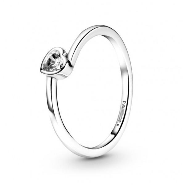"""Кольцо """"Прозрачное ассиметричное сердце"""" , С8591"""
