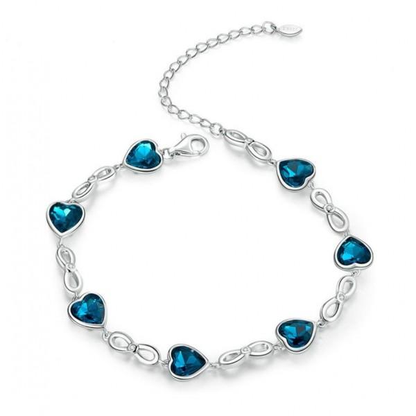 """Браслет из серебра """"Синие сердца"""", С8682"""