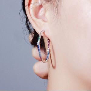 Сережки кільця конго з камінням, С9136