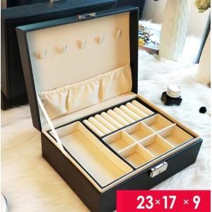 Шкатулка для украшений органайзер, черная, С9295
