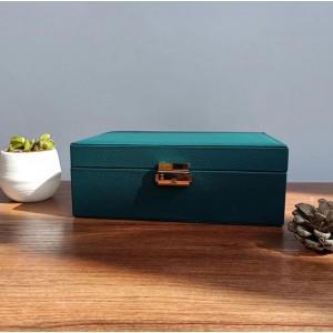 Шкатулка для украшений органайзер, зеленая, С9298