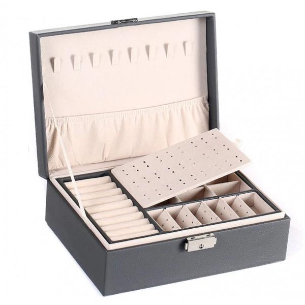 Шкатулка для украшений органайзер, серая, С9299