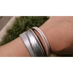 """Кожаный многослойный  браслет """"Amorcome"""" белый, С7731"""